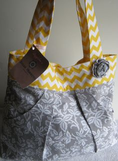 Compleat Me Pleated Tote/Diaper Bag by lizzysueandher2 on Etsy, $62.99