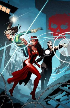 Rogue, Scarlet Witch and Havok by Paul Renaud #Uncanny #Avengers #XMen