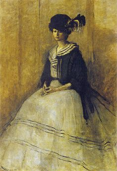 The Black Cap (1907) by Romaine Brooks (born Beatrice Romaine Goddard) - (1874-1970), American born, lived in France and Italy - specialized in portraiture drawing on the Symbolist and Aesthetic movements of the 19th century - largely stopped painting after the 1920's - (wikipedia)