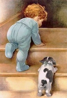 Gutmann, Bessie Pease (b,1876)- Infant & Puppy Climbing Stairs