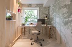 Using Biophilic Design principles in the home - nature graphic wallpaper to creating relaxing study space - Interior design work by Oliver Heath Design for TV2's Tid for Hjem in Norway Photograph by Jan Inge Mevold Skogheim