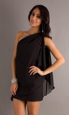 Sophisticated Short Black Chiffon Dress One Shoulder Above Knee