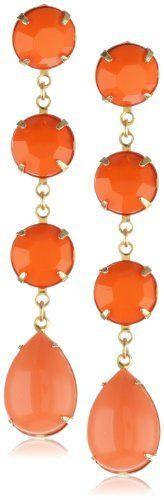 Yochi Orange Linear Stone Chandelier Earrings Yochi. $55.00. Made in USA. Post earring