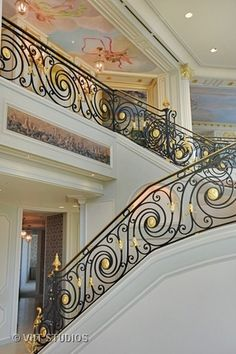 This staircase looks like it belongs in a fairy tale castle! Click the photo to view the rest of this insanely beautiful Chicago home. Wrought Iron Stair Railing, Staircase Railings, Modern Staircase, Banisters, Staircases, Interior Stair Railing, Balcony Railing Design, Balustrade Balcon, Home Stairs Design