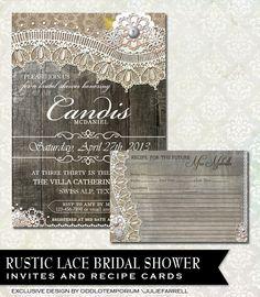Rustic Bridal Shower Invitations Rustic Lace от OddLotEmporium