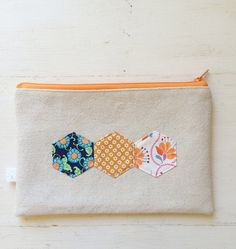 Three Hexies on Canvas, Make-Up Case, Pencil Pouch with Orange Zipper