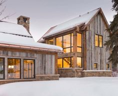 exterior limestone and barnwood siding
