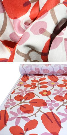 """Gorgeous reproduction 70s fabric - I of course fell in love with one of the more expensive ones they have in their line, but this is gorgeous - """"Nathalie, Lipstick"""""""