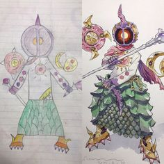 Artist and dad Thomas Romain turns his son's designs into father son art. To keep his kids drawing, Romain asks for support through a Patreon page. Badass Drawings, Amazing Drawings, Art Drawings, Thomas Romain, Art Thomas, French Anime, Awesome Anime, Father And Son, Drawing For Kids