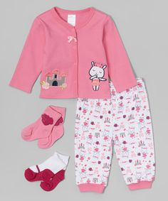Look what I found on #zulily! Little Beginnings Pink Bunny Cardigan Set by Little Beginnings #zulilyfinds
