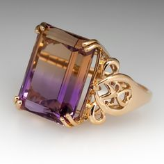 This beautiful bi-colored emerald cut ametrine gemstone cocktail ring is crafted of sturdy yellow gold and is currently a size We offer complimentary resizing prior to shipping. Pearl Jewelry, Jewelry Art, Diamond Jewelry, Antique Jewelry, Jewelery, Vintage Jewelry, Ring My Bell, Diy Crafts Jewelry, Alternative Engagement Rings