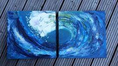 Diptychon Welle Strukturbild Acrylbild auf von abstractartmoewchen