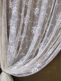 MASSIVE Chateau FRENCH Embroidered Net Antique CURTAINS c1900 Delicate www.Vintageblessings.com