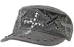 Rock & Roll Cowgirl® Grey w/ Multi Rhinestone Crosses Military Style Cap  Price: $28.00