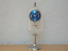 Johmid Rare Blue and Lucite Pendulette 8-Day Desk Clock
