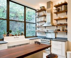 Smart Kitchen Storage Tip: Stash Stuff in Plain Sight! Open shelves provide plenty of storage while keeping everyday serveware, pots and pans within easy reach. Photo courtesy of The Brooklyn Home Company Smart Kitchen, Diy Kitchen, Kitchen Interior, Kitchen Decor, Kitchen Ideas, Open Kitchen, Kitchen Windows, Rustic Kitchen, Kitchen Sink