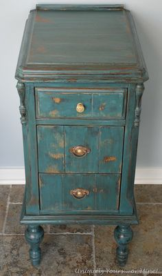 vintage aubusson blue painted nightstand - one side of old vanity (coat of Aubusson, Annie Sloan Chalk Paint, heavily distressed, sealed it with Annie Sloan clear wax, soaked handles overnight in ammonia and water)