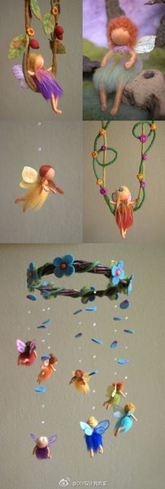 Whimsical handmade / fairy mobile / ideas for little girls room fairy princess mobile artist unknown Felt Crafts, Diy And Crafts, Crafts For Kids, Arts And Crafts, Wet Felting, Needle Felting, Felt Fairy, Ideias Diy, Flower Fairies