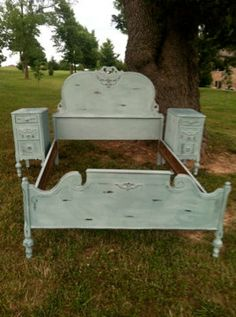 Antique Aqua Bedroom Set Full Bed,  2 Nightstands, & Dresser Victorian French Country Cottage Shabby Chic Distressed Adorable Girls Set