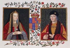 Elizabeth of York holding the white York rose. Henry Tudor (Henry VII) holding the red Tudor rose. They married after Henry took the crown from Elizabeth's brother, Richard III, uniting the houses of York & Lancaster. Tudor Rose, Rosa Tudor, Dinastia Tudor, Tudor History, British History, Women's History, 1 John, Elizabeth Of York, Royals