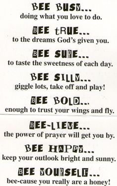 Bee Attitudes- copy onto bee background paper, stick on Popsicle sticks and…