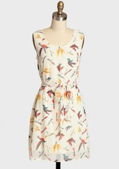 Hummingbird Heartbeat Patterned Dress