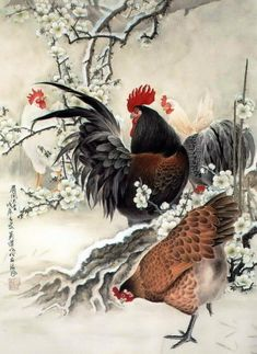 Black rooster - a servant of the devil - Art Kaleidoscope Rooster Painting, Rooster Art, Chicken Painting, Chicken Art, Japan Painting, China Painting, Painting Art, Image Deco, Art Chinois