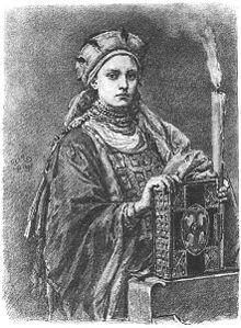 Dobrawa of Bohemia (940/945 - 977). Duchess of Poland from 965 until her death in 977. She was the wife of Mieszko I and had three children with him. Legend has it that she convinced her husband to convert to Christianity.
