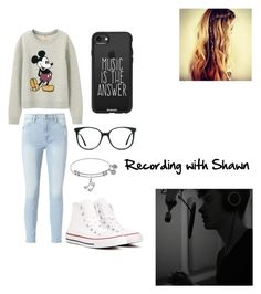 """Recording with Shawn"" by vixon04 ❤ liked on Polyvore featuring Frame, Uniqlo, Converse, Casetify and Ace"