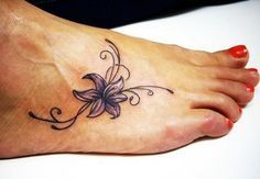 Lily Tattoo on Foot. via forcreativejuice.com