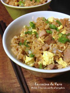 Arroz frito con cerdo al jengibre - La cocina de Vero #comidachina #recetas