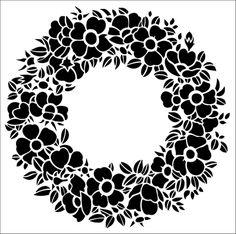 Wild Rose Garland stencil from The Stencil Library GENERAL range. Buy stencils online. Stencil code 170.