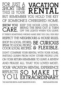 vacation rental guest manifesto courtesy of Rentals United www.orlandocondoatlegacydunes.com