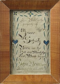 Pennsylvania ink and watercolor fraktur bookplate, dated 1832 for Isaac Schultz, signed John Newcomer