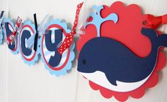 Nautical Baby Shower Banner  Red White and by sweetheartpartyshop, $30.00