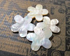 Mother of Pearl Cabochons VINTAGE MOP Abalone Carved Flowers Iridescent Color Four (4) Stunning Vintage Wedding Jewelry Mosaic Supply (D134) by punksrus on Etsy