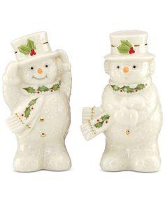 Lenox Happy Holly Days Snowman Salt and Pepper Set