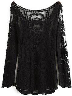 Lace Hollow Out Long Sleeves T-Shirt        |  ≼❃≽  @kimludcom