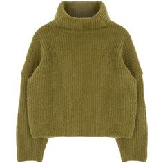 Funnel Neck Knit Sweater (€28) ❤ liked on Polyvore featuring tops, sweaters, loose fit tops, long sleeve sweaters, brown tops, loose knit top and long sleeve tops