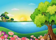 Illustration of the fresh flowers at the riverbank near the tree house Scenery Background, Background Clipart, Cartoon Background, Landscape Background, Landscape Clipart, Kerala Mural Painting, Page Borders Design, Framed Wallpaper, Cute Drawings