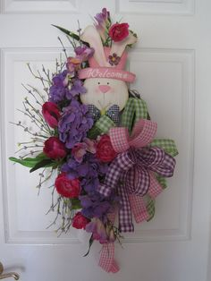 Easter Wreath Free Shipping Front Door Wreath Easter by FunFlorals