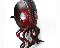 Steampunk Cthulhu Mask Nautical giant squid leather mask with