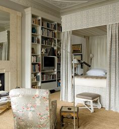 LOVE this English Master Bedroom and LOVE the bed treatment! Beautiful Fabric!