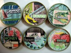 magnet set. by Laura Hartrich, via Flickr/ magnets using baby food jar lids