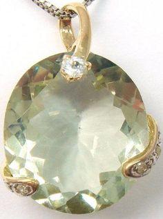 Gouden ketting hanger gezet met 1 Green Amethyst van 9ct & 1 White Topaz van 0.1ct en 3 Diamanten 0.075ct