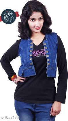 Jackets & Waistcoat Stylish Solid Denim Women's Jacket  *Fabric* Denim  *Sleeves* Sleeves Are Not Included  *Size* S- 36 in, M- 38 in, L- 40 in, XL- 42 in  *Length* Up To 24 in  *Description* It Has 1 Piece Of Women's Jacket  *Pattern* Solid  *Sizes Available* S, M, L, XL *   Catalog Rating: ★4 (152)  Catalog Name: Stylish Solid Denim Women'S Jackets Vol 13 CatalogID_128960 C79-SC1023 Code: 193-1057179-