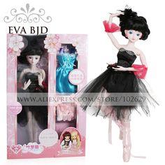 89.99$  Watch now - http://aliaj7.worldwells.pw/go.php?t=32779895294 - 1/3 BJD Doll 60cm 19 jointed dolls Black Swan angel Girl doll ( Free Eyes + Hair + Makeup + Clothes + Shoes )  EVA BJD DA001-43