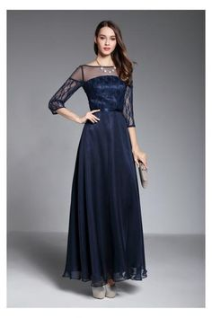 Navy Blue Long Sleeves Formal Dress,Custom Made,Party Gown,Evening Dress,Cheap Prom Dress