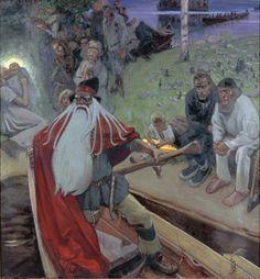 """Kalevala""- painting made by a finnish painter Akseli Gallen-Kallela Painter, Illustration, Russian Mythology, Painting, Deities, Art, Viking Age, Ancient Origins, Norse Mythology"
