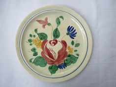 """HUGE 14 1/4"""" RED WING REDWING 1940'S PAINTED POTTERY PLATTER-ORLEANS CHOP PLATE #RedWing"""
